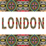 London sign with tribal ethnic ornament. Decorative arabic frame border pattern. Vector background or card design Royalty Free Stock Photography