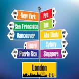 London signpost with cities and distances Stock Photo