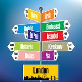 London signpost with cities and distances Stock Photography