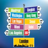 London signpost with cities and distances Royalty Free Stock Photo