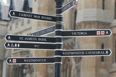 London Signs. Street signs displayed in London stock photography