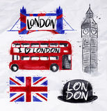 London signs. Big ben, flag, bus, tower bridge, bowler hat, drawing with drops and splash on a crumpled paper Royalty Free Stock Photos