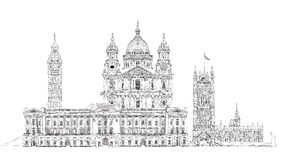 London, sketch. Big Ben, Parliament, st. Paul cathedral and palace