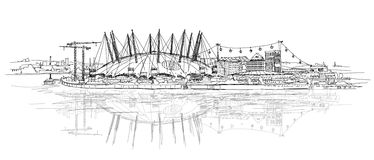 London sketch illustration. Performance arena Royalty Free Stock Photos