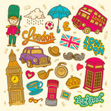 London sketch illustration, set of hand drawn Vector doodle England elements, London symbols collection Royalty Free Stock Image