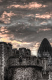 London Sky. London tower with the Gherkin in the background Stock Image