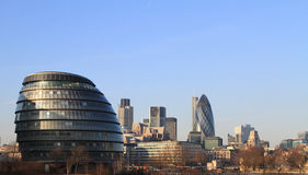 London skyline. A view of London City hall with the business district in the background. Including the famous 30 st Mary Axe building. Ready for the 2012 olympic Stock Image
