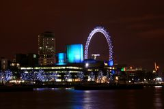 London Skyline. And river Thames at night stock images