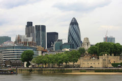 London Skyline. With the Gherkin building and the Tower in the city of london stock images