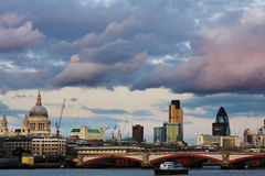 London skyline. London city skyline by day with clouds stock photo