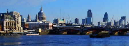 London skyline. River Thames and the London skyline viewed from the South Bank royalty free stock image