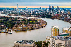 London Skyline, Aerial View with Landmarks. London skyline during the daytime, aerial view with landmarks stock photography