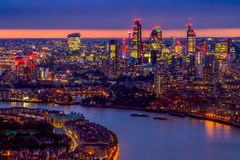 London Skyline, Aerial View with Landmarks Royalty Free Stock Photo
