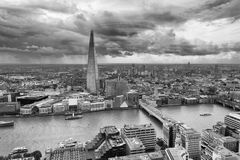 London skyline along river Thames, aerial view.  royalty free stock photography