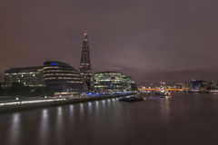 London Skyline along River Thames. London Skyline including City Hall and the Shard along River Thames. City Hall building is the headquarters of the Greater Royalty Free Stock Photography