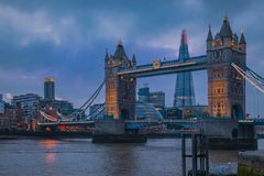 Free London Skyline At Night With Tower Bridge And The Shard Stock Photo - 164782640