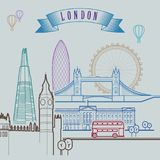 London skyline. Background. Outline graphic. Illustration. Stock Image