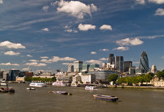 London Skyline behind the Thames Royalty Free Stock Image