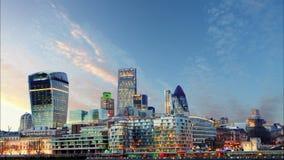 London-Skyline bei Sonnenuntergang - Zeitspanne, Großbritannien Lizenzfreies Stockbild