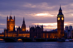 London Skyline and Big Ben, England Stock Photos