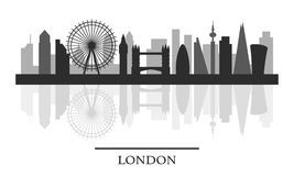 London skyline, black and white stylish silhouette Royalty Free Stock Photography