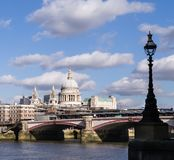 London skyline with Blackfriars Bridge and Saint Paul`s Cathedral. London skyline with  Blackfriars bridge and Saint Paul`s cathedral framed by silhouette of Stock Images