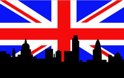 London Skyline British Flag Royalty Free Stock Photography