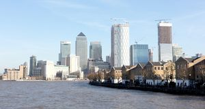 London skyline buildings in Canary Warf, view from the Thames. London, United Kingdom - Februari 21, 2019: London skyline buildings in Canary Warf, view from the stock images
