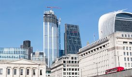 London skyline buildings in Canary Warf, view from the Thames. London, United Kingdom - Februari 21, 2019: London skyline buildings in Canary Warf, view from the stock image