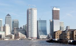 London skyline buildings in Canary Warf, view from the Thames. London, United Kingdom - Februari 21, 2019: London skyline buildings in Canary Warf, view from the royalty free stock images