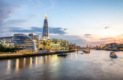London skyline, buildings south of Thames aftre sunset stock photo
