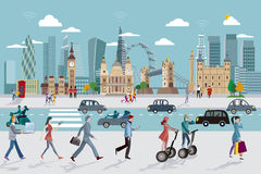 London Skyline and Business People Walking Royalty Free Stock Photo