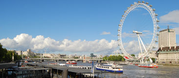 London skyline. Central London skyline from Westminster Bridge with London Eye stock images