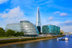 London skyline City Hall and Shard. On Thames river stock photos