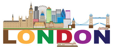London Skyline Color Text vector Illustration Royalty Free Stock Photo