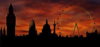London skyline at dusk. London skyline at twilight - illustration - London Eye, Big Ben Royalty Free Stock Photography