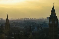 London skyline in 2007 at dusk with smog mist at sunset, evening royalty free stock photo