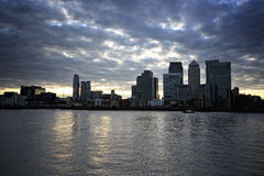 London skyline. London financial district skyline with clouds Royalty Free Stock Photography