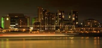 London skyline. London financial district skyline with light trails Stock Photo