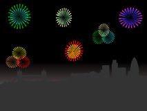 London skyline with fireworks. London skyline at night with colourful fireworks illustration Royalty Free Stock Photography