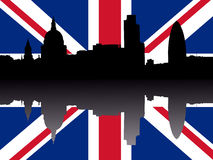 London skyline with flag Royalty Free Stock Photo