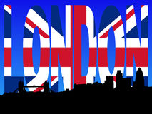 London skyline with flag text Stock Images