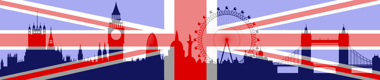 London skyline with flag - vector. London skyline with flag on background - vector Royalty Free Stock Photos