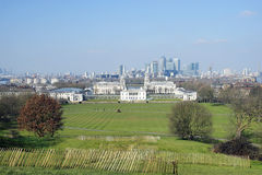 London-Skyline gesehen vom Greenwich-Park Stockfoto