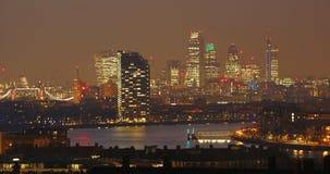 London-Skyline gesehen vom Greenwich-Park Stockbild