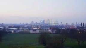 London-Skyline gesehen vom Greenwich-Park Lizenzfreies Stockfoto