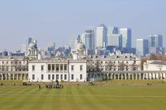 London-Skyline gesehen vom Greenwich-Park Stockbilder
