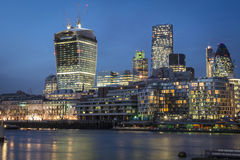 The London Skyline. The London Gherkin and other buildings, seen from Tower Bridge on River Thames Stock Photos