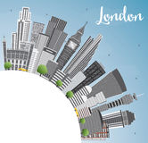 London Skyline with Gray Buildings, Blue Sky and Copy Space. Royalty Free Stock Photos