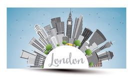 London Skyline with Gray Buildings, Blue Sky and Copy Space. Royalty Free Stock Photography